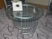 Table Cannes Ronde Gris Argent -